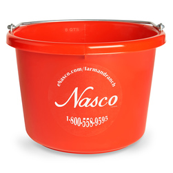 2 Gallon - Round (11-1/2 x 8-3/8) Plastic Bucket - Red