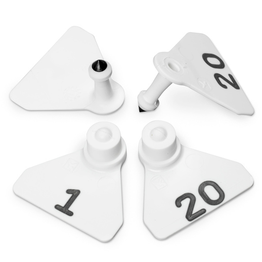 Allflex® Numbered (1-20) Sheep Mini Tags - White