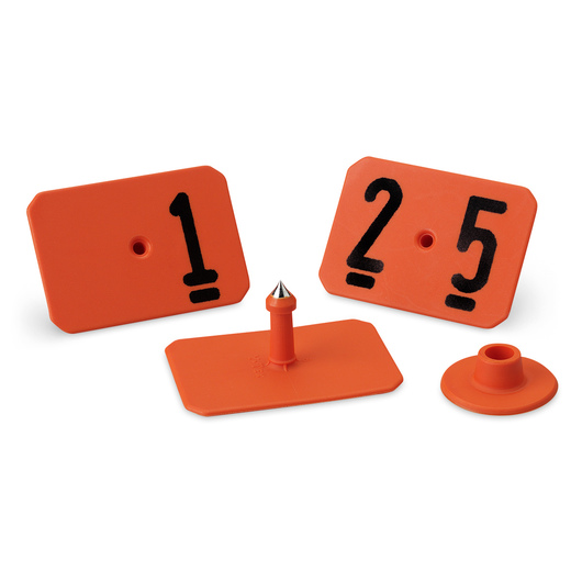 Y-TEX® SwineStar® MAX 2-1/8 in. x 1-1/2 in. Ear Tags (with Studs) - Orange, Numbered 1-25