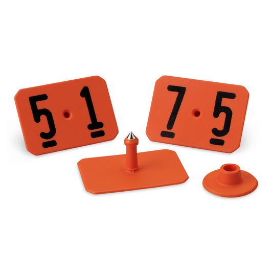 Y-TEX® SwineStar® MAX 2-1/8 x 1-1/2 Ear Tags (with Studs) - Orange, Numbered 51-75