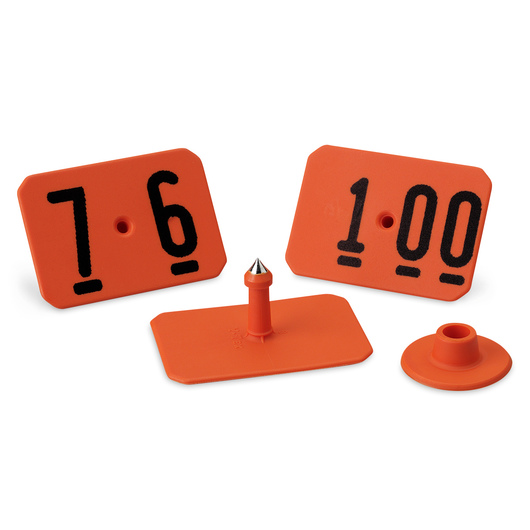 Y-TEX® SwineStar® MAX 2-1/8 in. x 1-1/2 in. Ear Tags (with Studs) - Orange, Numbered 76-100