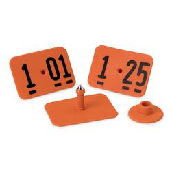 Y-TEX® SwineStar® MAX 2-1/8 in. x 1-1/2 in. Ear Tags (with Studs) - Orange, Numbered 101-125