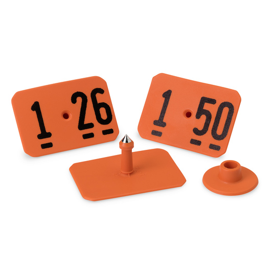 Y-TEX® SwineStar® MAX 2-1/8 in. x 1-1/2 in. Ear Tags (with Studs) - Orange, Numbered 126-150