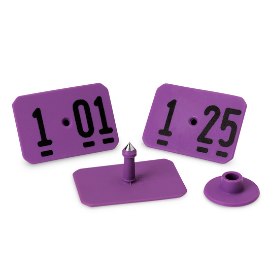 Y-TEX® SwineStar® MAX 2-1/8 x 1-1/2 Ear Tags (with Studs) - Purple, Numbered 101-125