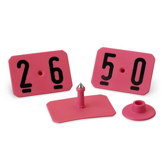 Y-TEX® SwineStar® MAX 2-1/8 x 1-1/2 Ear Tags (with Studs) - Hot Pink - Numbered 26-50