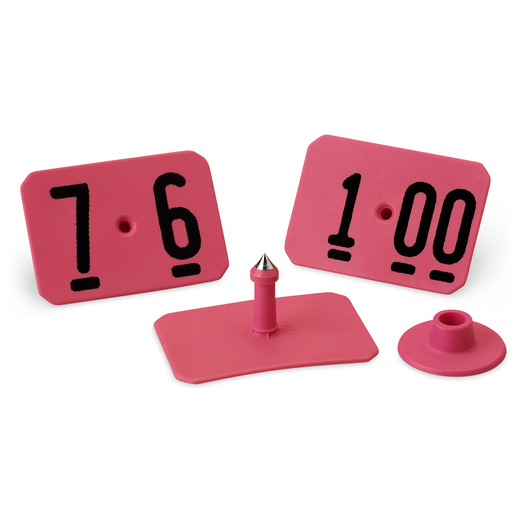 Y-TEX® SwineStar® MAX 2-1/8 in. x 1-1/2 in. Ear Tags (with Studs) - Hot Pink - Numbered 76-100