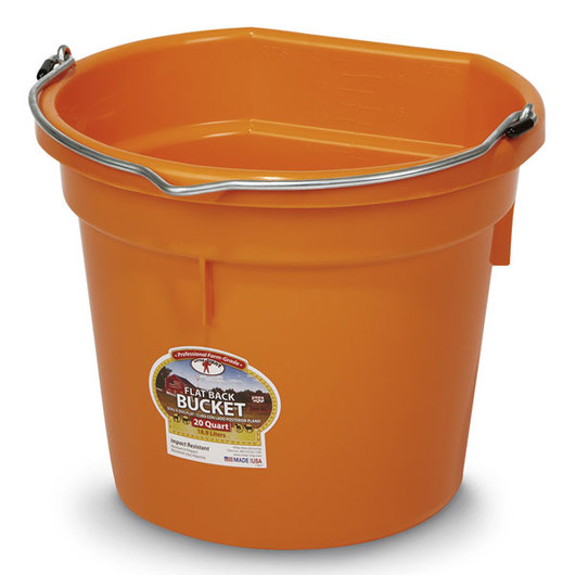 Plastic Bucket - 5-Gallon Flat Back - Orange