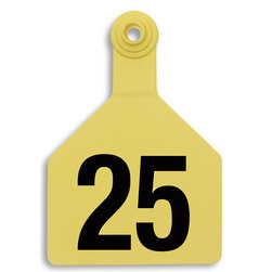 Z2 No-Tear-Tags™ Two-Piece Ear Tags, Maxi Size, 4-1/2 in. x 3 in. - Yellow, Numbers 26-50