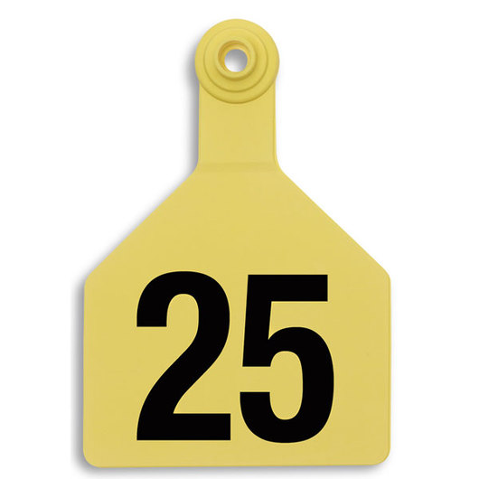Z2 No-Tear-Tags™ Two-Piece Ear Tags, Maxi Size, 4-1/2 x 3 - Yellow, Numbers 26-50