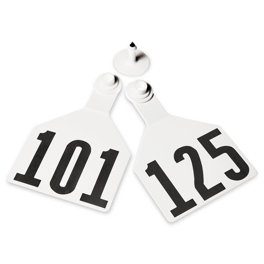 Z2 No-Tear-Tags™ Two-Piece Ear Tags, Maxi Size, 4-1/2 in. x 3 in. - White, Numbers 101-125