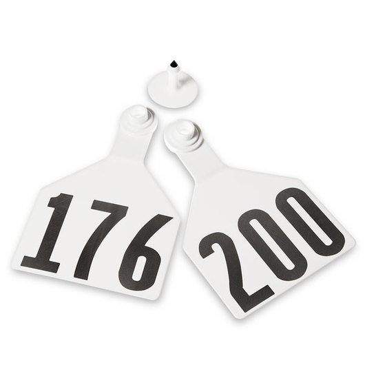 Z2 No-Tear-Tags™ Two-Piece Ear Tags, Maxi Size, 4-1/2 in. x 3 in. - White, Numbers 176-200