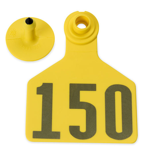 Z2 No-Tear-Tags™ Two-Piece Ear Tags, Large Size - 2-1/2 in. x 3-1/4 in. - Yellow - Numbers 126-150