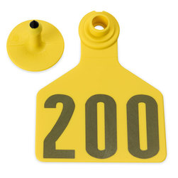 Z2 No-Tear-Tags™ Two-Piece Ear Tags, Large Size - 2-1/2 in. x 3-1/4 in. - Yellow - Numbers 176-200