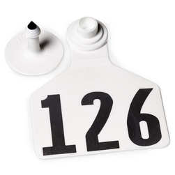 Z2 No-Tear-Tags™ Two-Piece Ear Tags, Large Size - 2-1/2 in. x 3-1/4 in. - White - Numbers 126-150