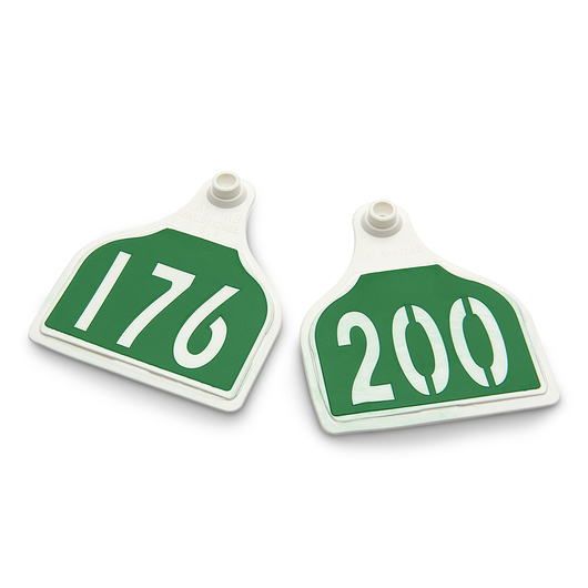CAL TAG Cow Tag - Numbers on 1 Side - 4 in. L x 3-1/4 in. W - Pkg. of 25 - Numbers 176-200 - Green Over White Base