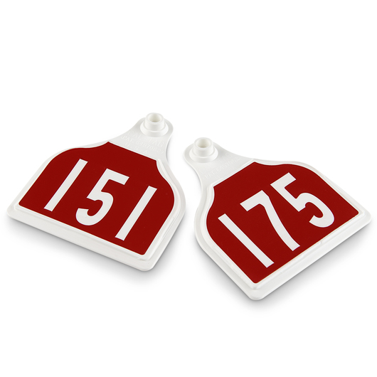 CAL TAG Cow Tag - Numbers on 1 Side - 4 in. L x 3-1/4 in. W - Pkg. of 25 - Numbers 151-175 - Red Over White Base