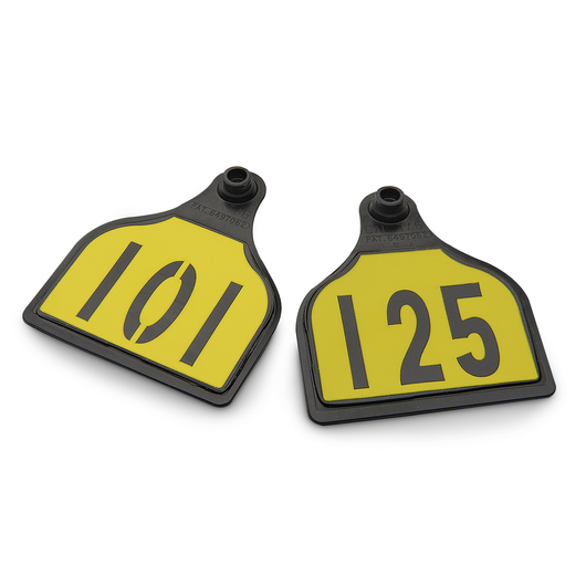 CAL TAG Cow Tag - Numbers on 1 Side - 4 in. L x 3-1/4 in. W - Pkg. of 25 - Numbers 101-125 - Yellow Over Black Base