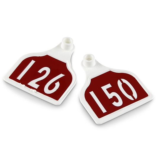 CAL TAG Calf Tag - Numbers on 1 Side - 3 in. L x 2-1/4 in. W - Pkg. of 25 - Numbers 126-150 - Red Over White Base