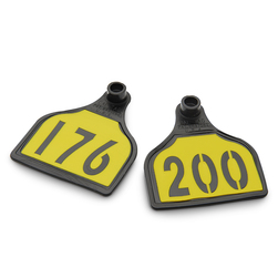 CAL TAG Calf Tag - Numbers on 1 Side - 3 in. L x 2-1/4 in. W - Pkg. of 25 - Numbers 176-200 - Yellow Over Black Base