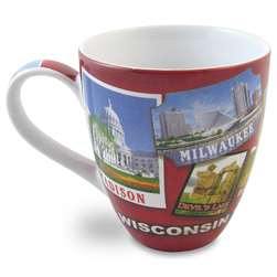 Wisconsin <q>The Dairy State</q> Collage Mug - 4-1/2 in. H