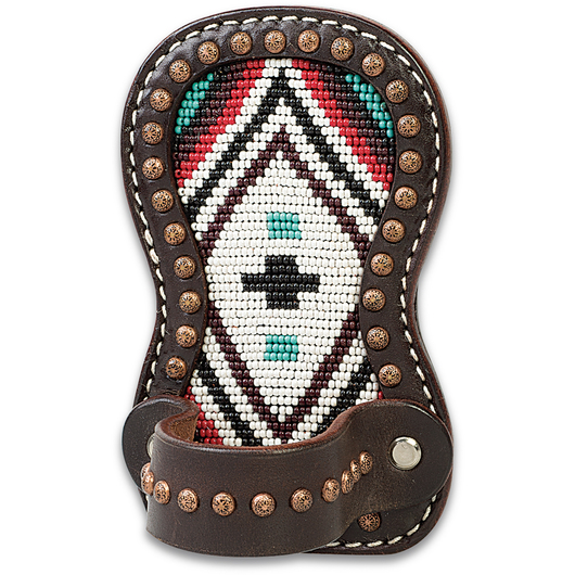 Weaver® Show Comb Holder with Cross Beading on Brown Leather - 3-1/8 in. W x 5 in. H - Turquoise