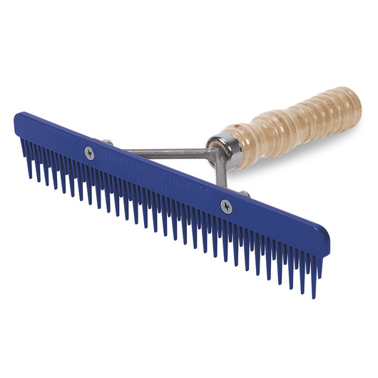 Weaver® Plastic Fluffer Comb with Wood Handle - 6-1/4 L x 9 W - Blue