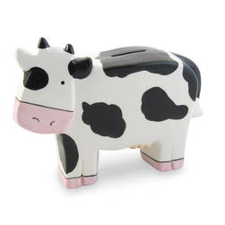 Ceramic Whimsey Cow Coin Bank