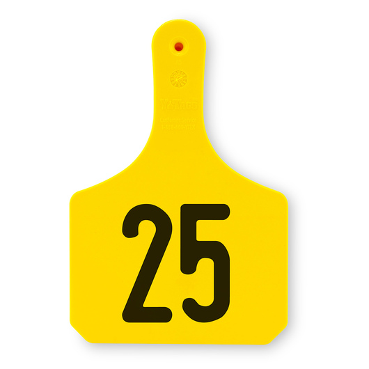 Y-TEX® 1-Piece Y-Tags™ - Numbered Tags 1-25 - Large (Cow) - 4-1/2 in. H x 3-3/8 in. W - Pack of 25 - Yellow