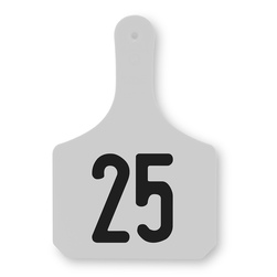 Y-TEX 1-Piece Y-Tags, Numbered Tags, Large (Cow), Pack of 25, White