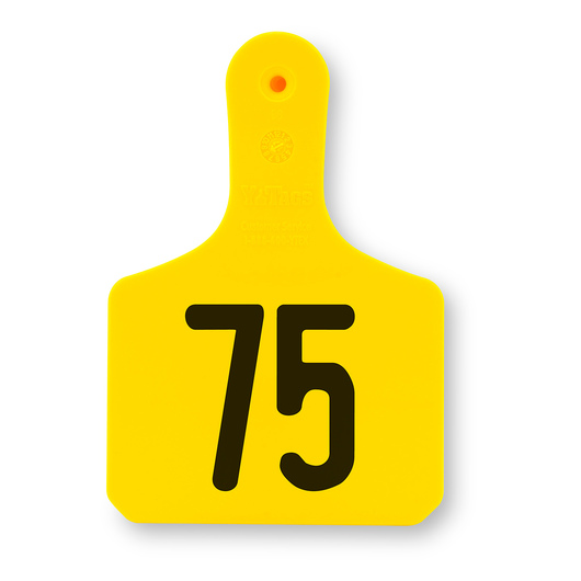 Y-TEX® 1-Piece Y-Tags™ - Numbered Tags 51-75 - Medium (Calf) - 3-1/2 in. H x 2-3/8 in. W - Pack of 25 - Yellow
