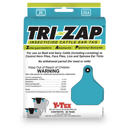 Y-TEX® TRI-ZAP™ Insecticide Cattle Ear Tags - Box of 20