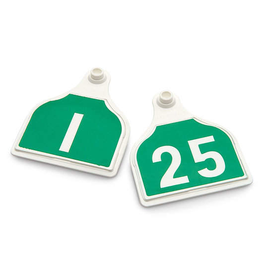CAL TAG EZCee Animal Identification Tags - Cow Size - 4 in. L x 3-1/4 in. W - Numbers on 1 Side - Numbers 1-25 - Package of 25 - Green Tag over White Base