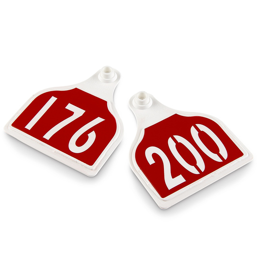CAL TAG EZCee Animal Identification Tags - Cow Size - 4 in. L x 3-1/4 in. W - Numbers on 1 Side - Numbers 176-200 - Package of 25 - Red Tag over White Base
