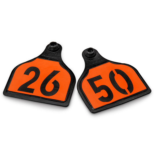 CAL TAG EZCee Animal Identification Tags - Cow Size - 4 in. L x 3-1/4 in. W - Numbers on 1 Side - Numbers 26-50 - Package of 25 - Orange Tag over Black Base