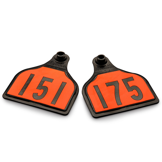 CAL TAG EZCee Animal Identification Tags - Cow Size - 4 in. L x 3-1/4 in. W - Numbers on 1 Side - Numbers 151-175 - Package of 25 - Orange Tag over Black Base