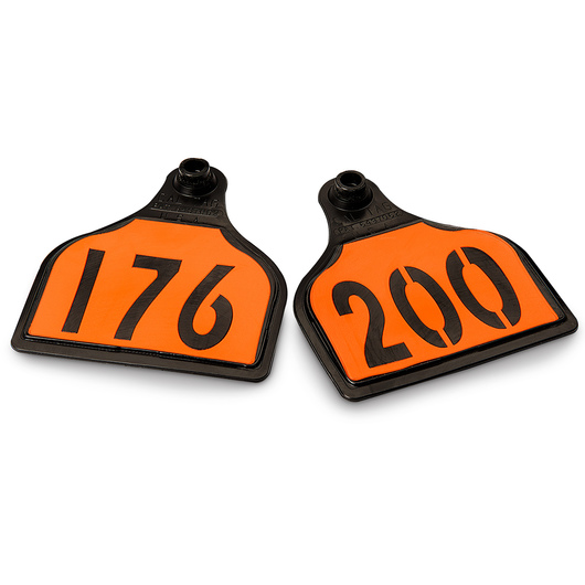 CAL TAG EZCee Animal Identification Tags - Cow Size - 4 in. L x 3-1/4 in. W - Numbers on 1 Side - Numbers 176-200 - Package of 25 - Orange Tag over Black Base