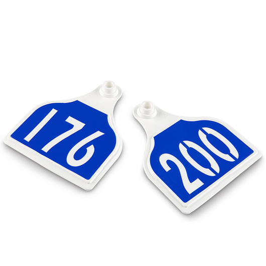 CAL TAG EZCee Animal Identification Tags - Cow Size - 4 in. L x 3-1/4 in. W - Numbers on 1 Side - Numbers 176-200 - Package of 25 - Dutch Blue Tag over White Base
