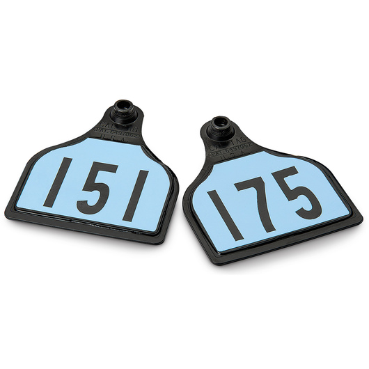 CAL TAG EZCee Animal Identification Tags - Cow Size - 4 in. L x 3-1/4 in. W - Numbers on 1 Side - Numbers 151-175 - Package of 25 - Sky Blue Tag over Black Base
