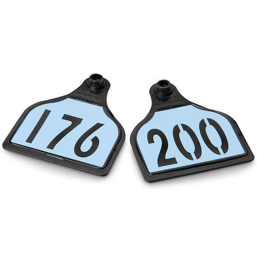 CAL TAG EZCee Animal Identification Tags - Cow Size - 4 in. L x 3-1/4 in. W - Numbers on 1 Side - Numbers 176-200 - Package of 25 - Sky Blue Tag over Black Base