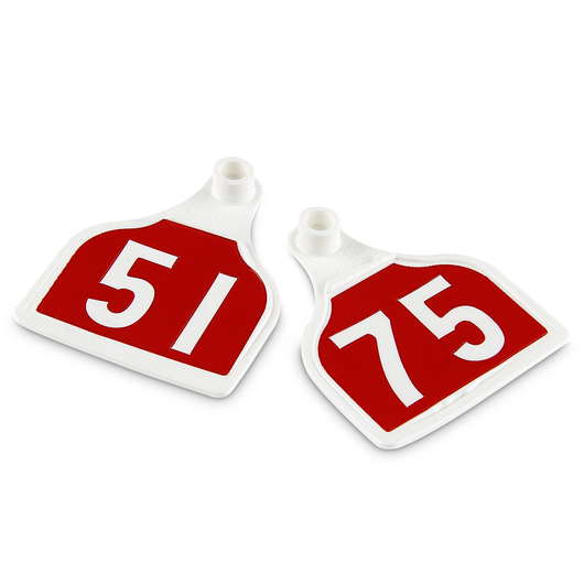CAL TAG EZCee Animal Identification Tags - Calf Size - 3 in. L x 2-1/4 in. W - Numbers on 1 Side - Numbers 51-75 - Package of 25 - Red Tag over White Base