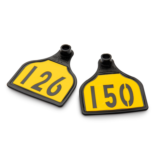 CAL TAG EZCee Animal Identification Tags - Calf Size - 3 in. L x 2-1/4 in. W - Numbers on 1 Side - Numbers 126-150 - Package of 25 - Yellow Tag over Black Base