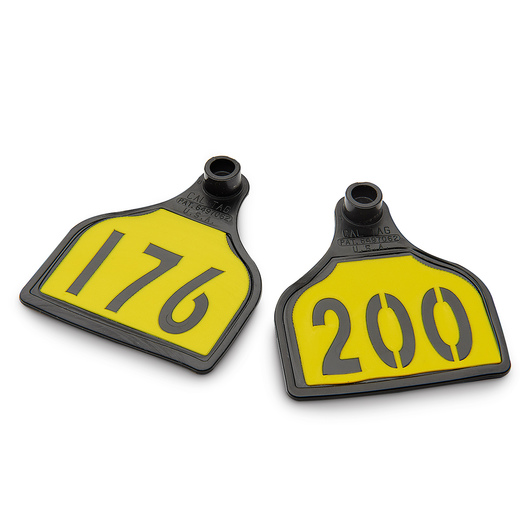 CAL TAG EZCee Animal Identification Tags - Calf Size - 3 in. L x 2-1/4 in. W - Numbers on 1 Side - Numbers 176-200 - Package of 25 - Yellow Tag over Black Base