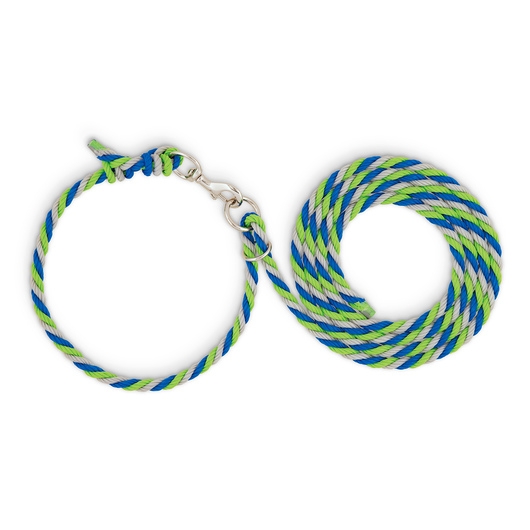 Weaver® Livestock Adjustable Poly Neck Rope - Lime Zest/Blue/Gray
