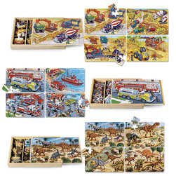 PuzBox 4-in-1 Wooden Jigsaw Puzzle Collection
