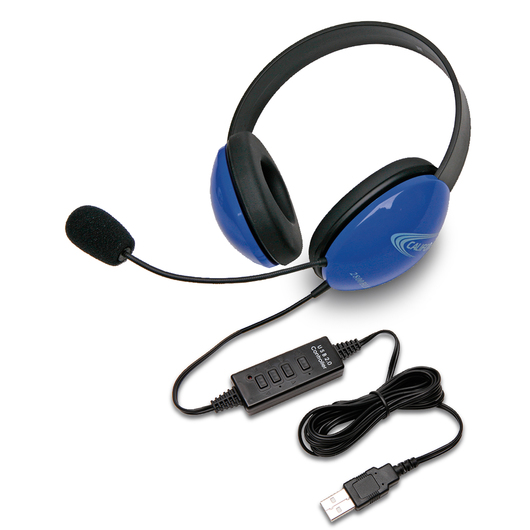 Califone® Listening First™ Headsets with USB Plug - Blue