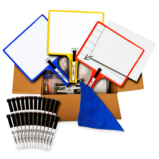 KleenSlate® Customizable Whiteboards with Clear Dry-Erase Sleeves - Set of 24