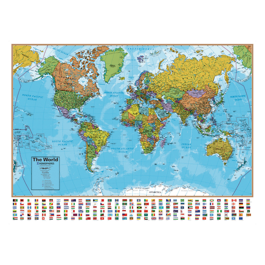 Laminated Wall Map - World - 51 in. W x 38 in. H