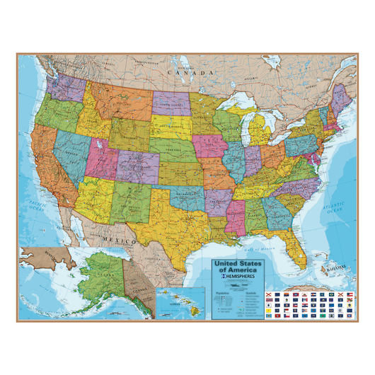 Laminated Wall Map - United States - 48 in. W x 38 in. H