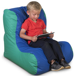 School Age Single High-Back Beanbag Chair - 30 in. D x 28 in. W x 27 in. H - Blue/Green