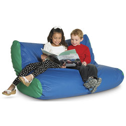 School Age Double High-Back Beanbag Chair - 48 in. L x 23 in. W x 36 in. H - Blue/Green